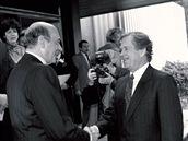 Václav Havel na návštěvě centrály NATO v roce 1991