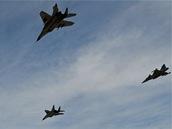 Průlet českých gripenů a polských MiG-29 nad litevskou základnou Šiauliai (31. srpna 2012)