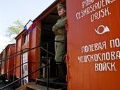 Kopie vlaku československých legionářů v předpremiéře během veletrhu IDET na brněnském výstavišti