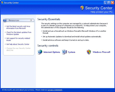 Windows Security Center v SP2 pro Windows XP