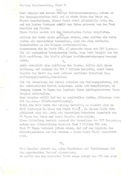 Originál smlouvy, na jejímž znění se dohodl Danny Douglas se zástupci československého státu v roce 1985: strana 3.