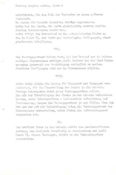 Originál smlouvy, na jejímž znění se dohodl Danny Douglas se zástupci československého státu v roce 1985: strana 4.
