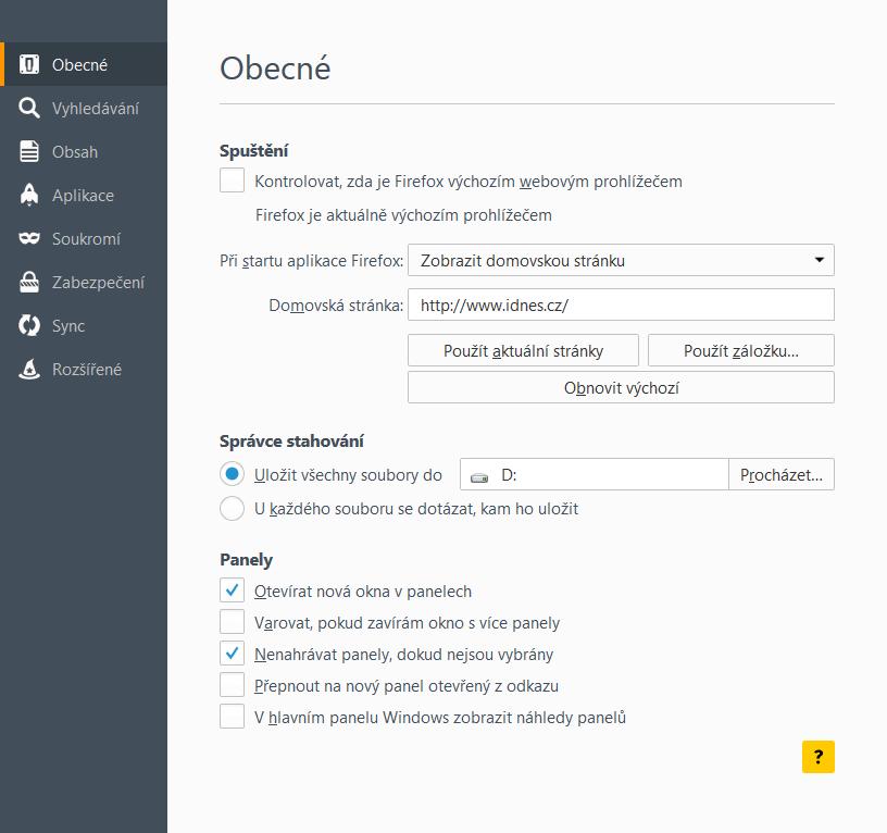 Jak nastavit iDNES.cz jako domovskou stránku - Firefox 41
