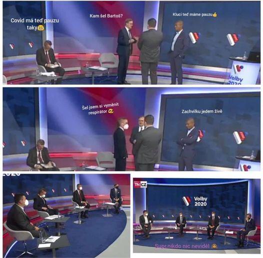 Po vypnutí kamer si šéfové stran hned sundali roušky. Na internet unikly fotky z televizní debaty | Domov | Lidovky.cz